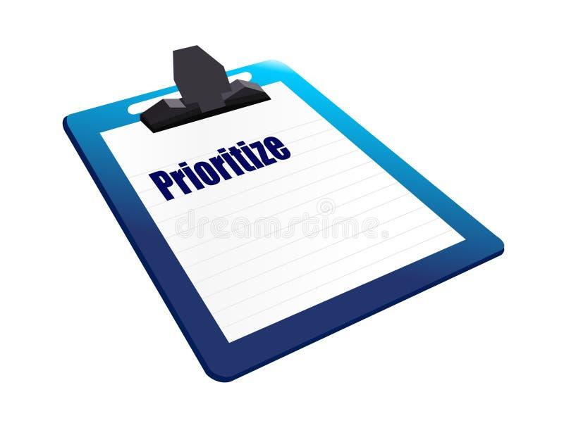 a prancheta dá a prioridade ao ilustrador do conceito Gráfico do projeto ilustração do vetor