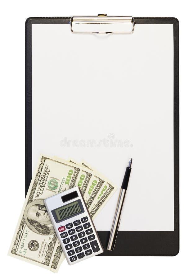 Prancheta, dólares, calculadora, e uma pena de fonte fotografia de stock royalty free