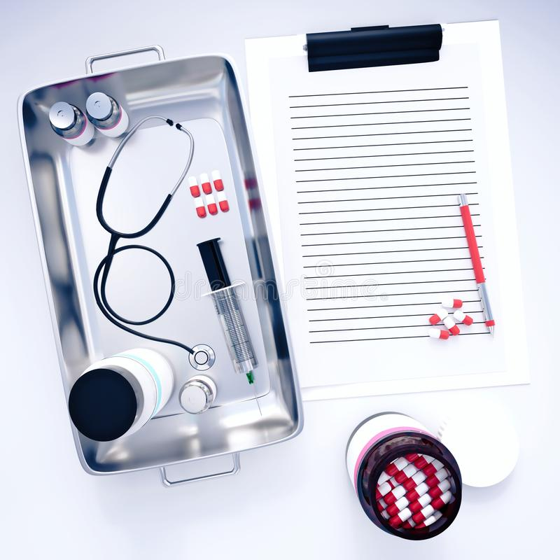 prancheta 3d com equipamento médico ilustração royalty free