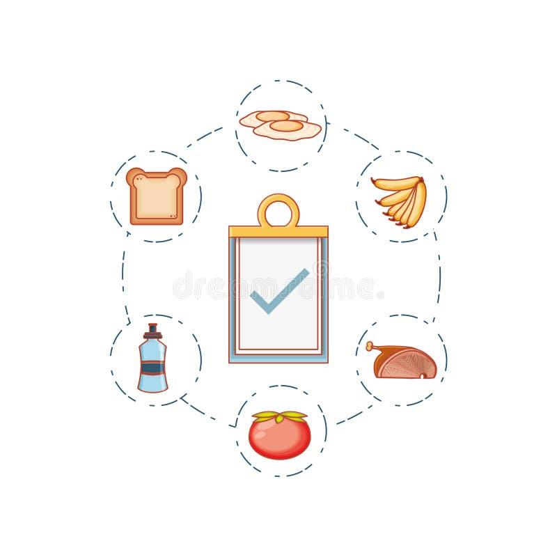 Prancheta da lista de verificação com ícones ajustados ilustração stock