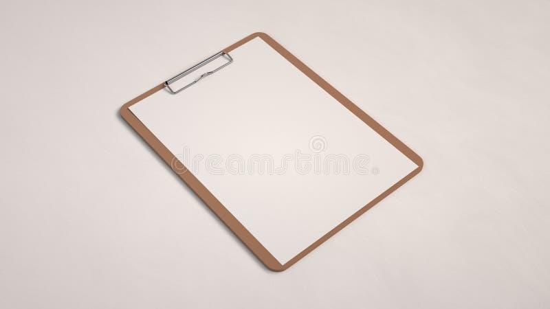 Prancheta de madeira com Livro Branco ilustração do vetor