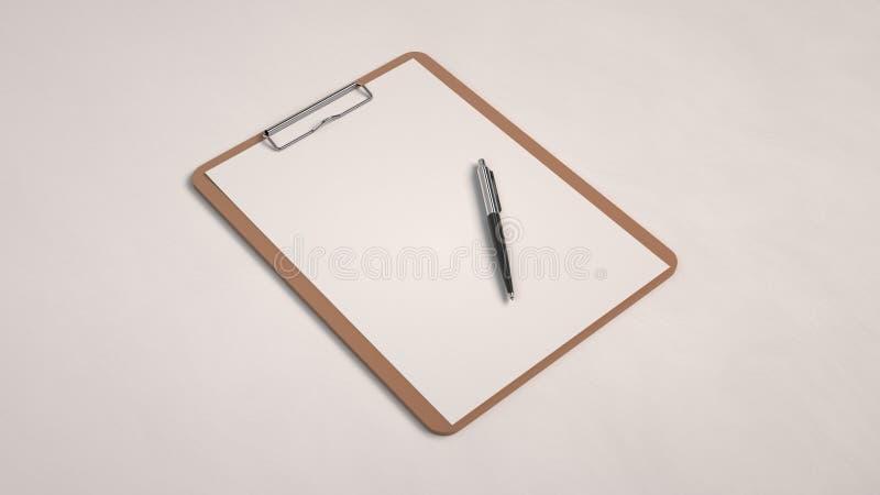 Prancheta de madeira com Livro Branco e pena ilustração stock