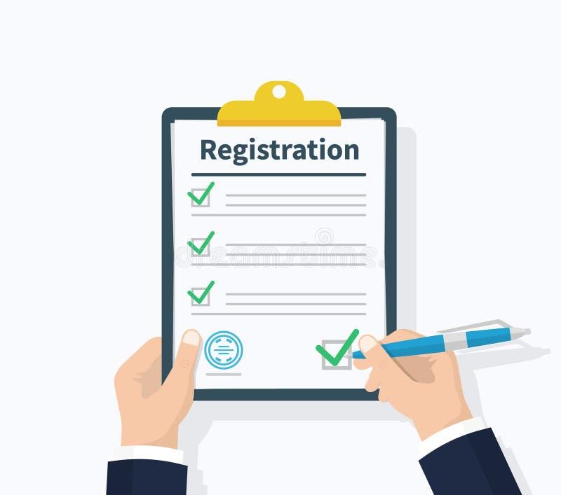 Prancheta do registro da posse do homem com acordo disponivel da prancheta da posse do homem da lista de verificação Projeto liso ilustração royalty free