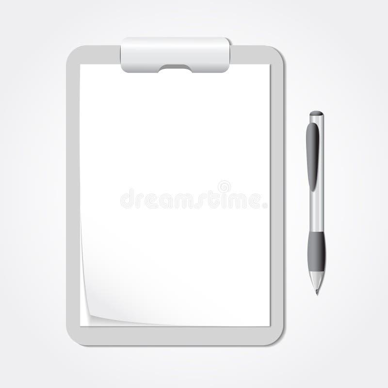 Prancheta do vetor com folhas de papel e uma pena ilustração stock