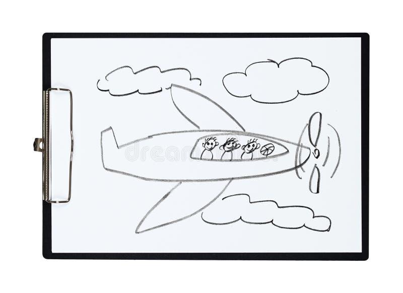 A prancheta e o papel cobrem com o avião do desenho de lápis e as crianças, objeto ilustração royalty free