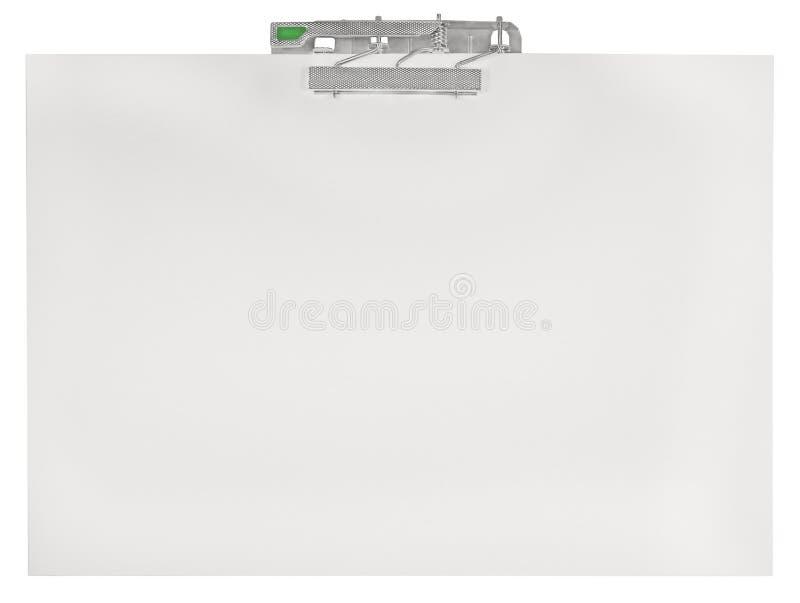 A prancheta horizontal, vazia esvazia o fundo branco isolado da textura da folha do espaço da cópia de arquivo em papel, grande c fotografia de stock