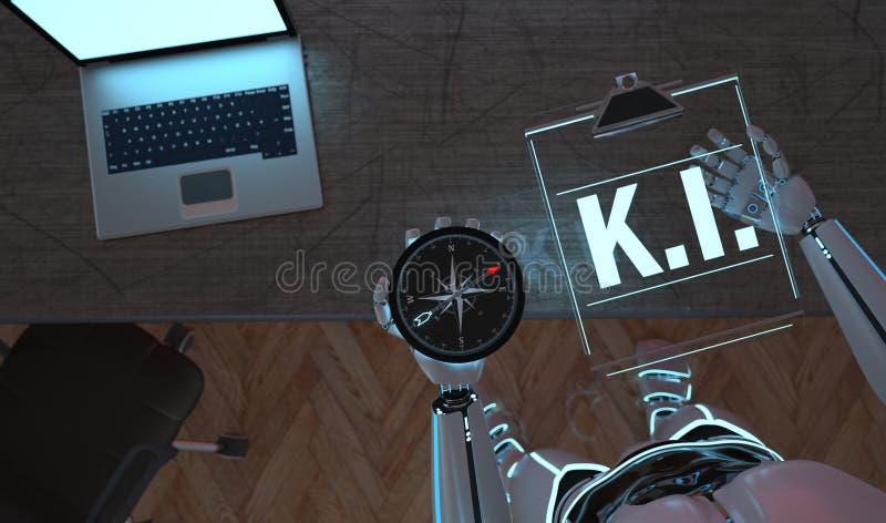 Prancheta KI do compasso do robô ilustração stock