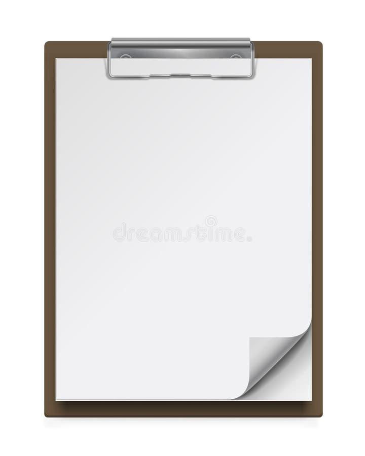 Prancheta realística com algumas folhas de papel brancas vazias ilustração royalty free