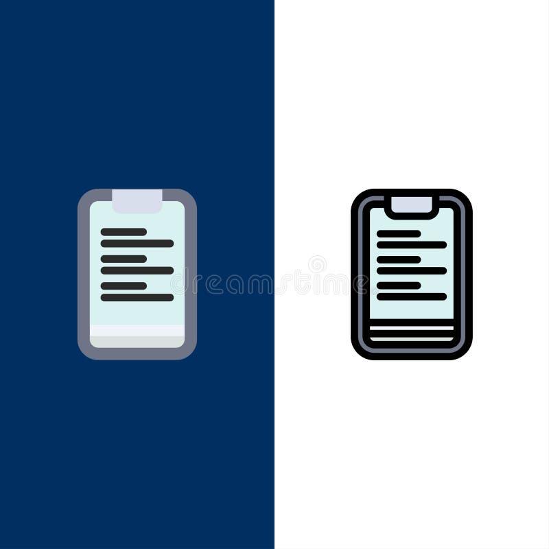 Prancheta, texto, placa, ícones da motivação O plano e a linha ícone enchido ajustaram o fundo azul do vetor ilustração stock