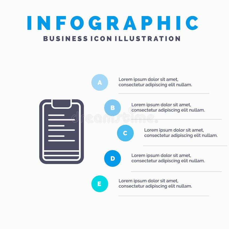Prancheta, texto, placa, fundo contínuo da apresentação das etapas de Infographics 5 do ícone da motivação ilustração do vetor