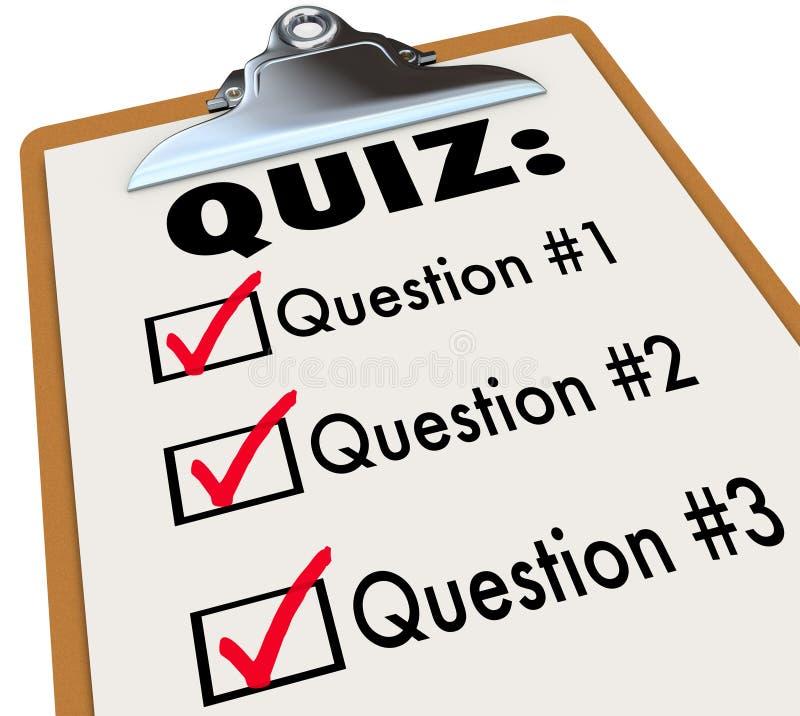 A prancheta três da palavra do questionário questiona a avaliação do teste das respostas ilustração royalty free