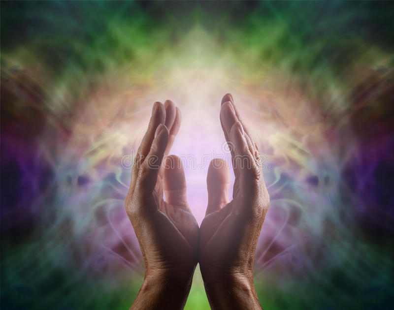 Pranic healer with beautiful Aura stock images