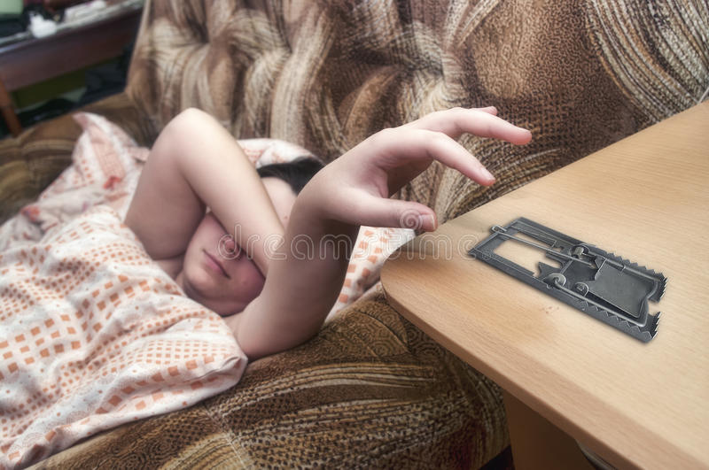 Download Prank With Mouse Trap And Alarm Clock Stock Photo - Image: 39821500