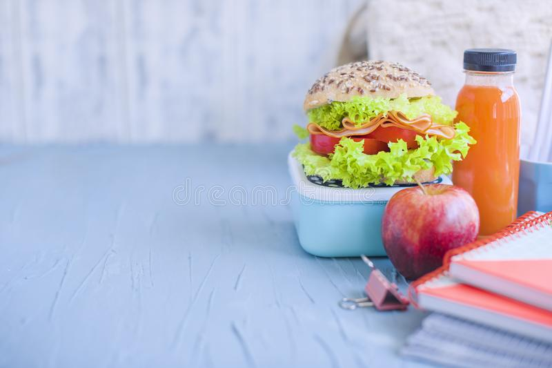 Pranza per il vostro bambino a scuola, la scatola un succo sano del panino e della macedonia e di mele nella bottiglia per bere immagini stock