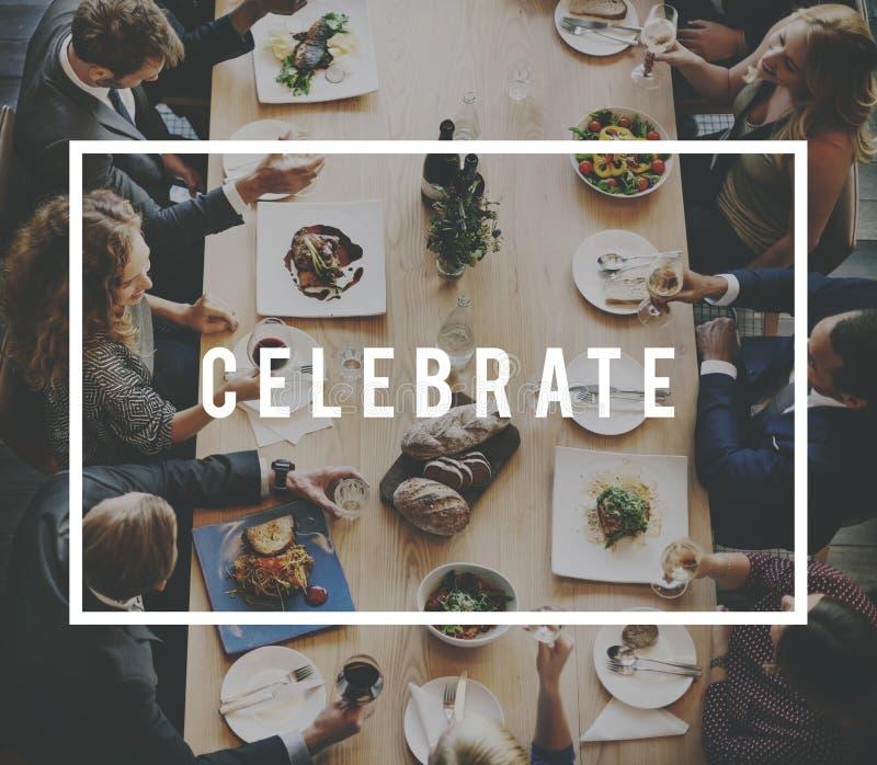Pranzare il pasto Team Anniversary Concept del pranzo di lavoro fotografie stock