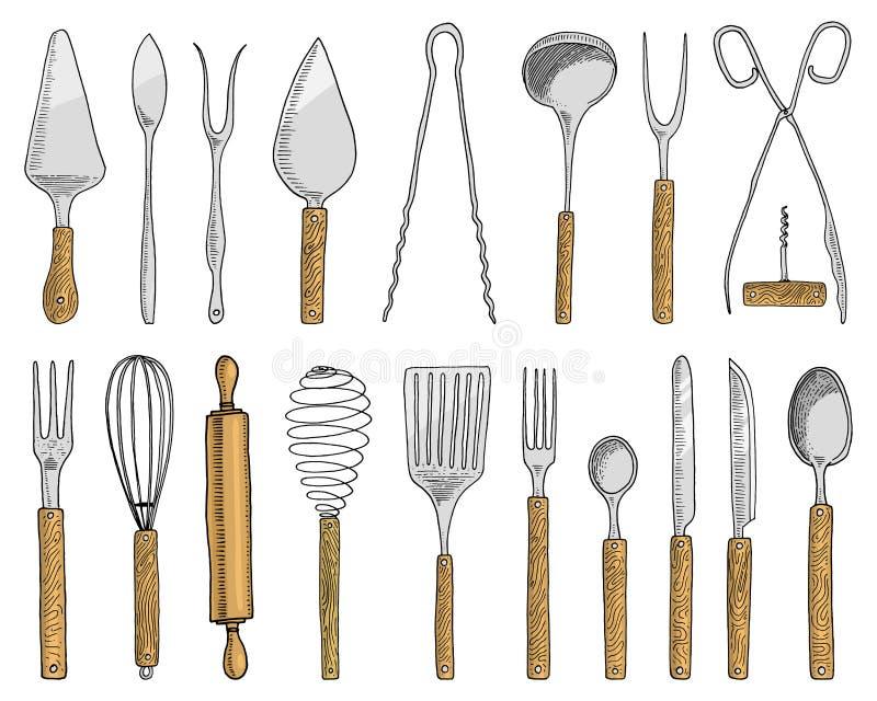 Pranzare o lo spuntino si biforca per le ostriche, cucchiaio del gelato e coltello per il dessert o burro e cuocere utensili dell illustrazione di stock