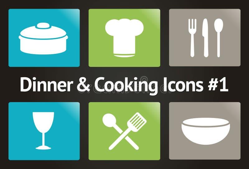 Pranzo & cucinare l'icona #1 stabilito di vettore illustrazione vettoriale