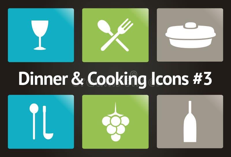 Pranzo & cucinare l'icona #3 stabilito di vettore royalty illustrazione gratis