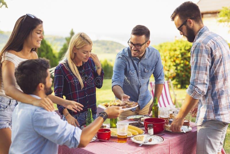 Pranzo del barbecue del cortile fotografie stock libere da diritti