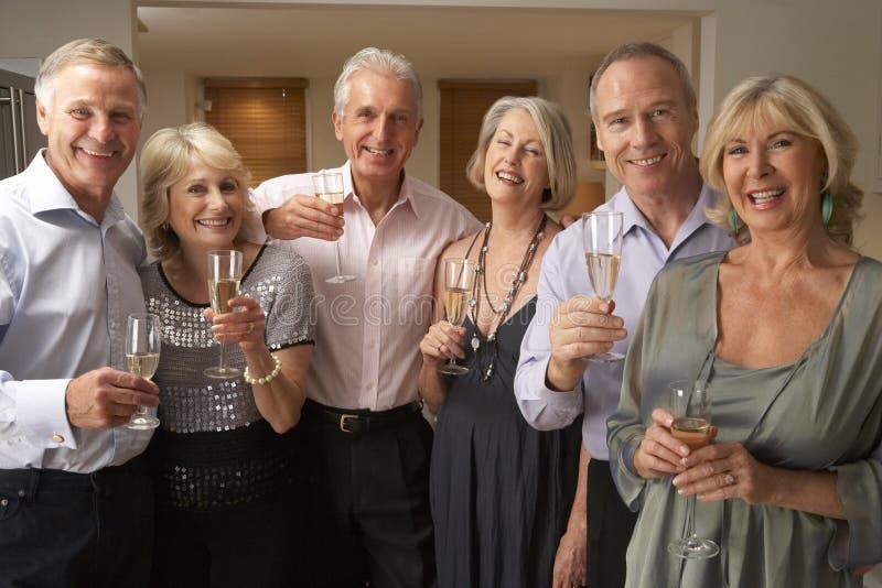 pranzo del champagne che gode del partito degli ospiti immagini stock
