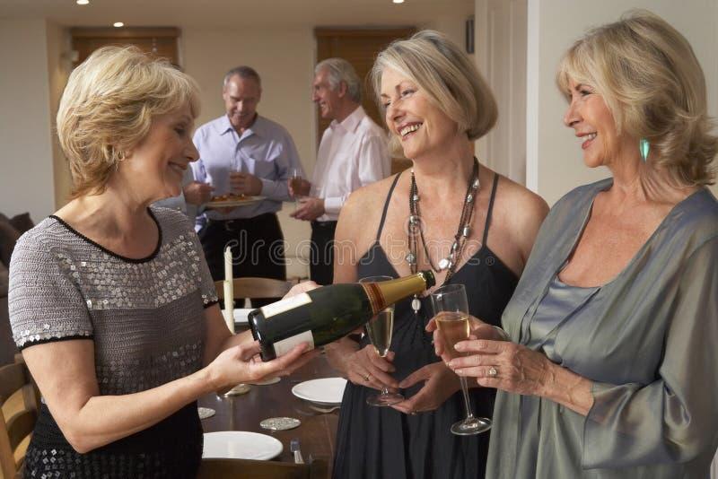pranzo del champagne che gode della donna del partito fotografia stock libera da diritti