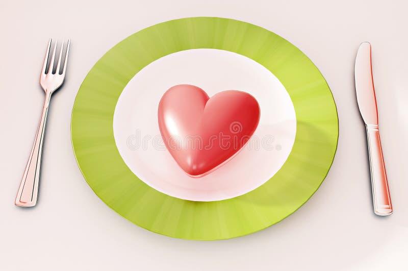 Pranzo del cuore illustrazione di stock