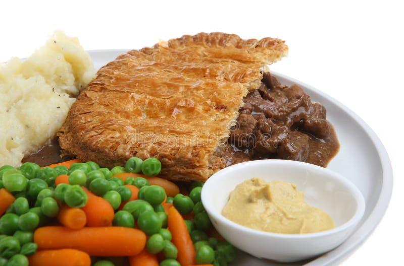 Pranzo del grafico a torta della bistecca fotografia stock