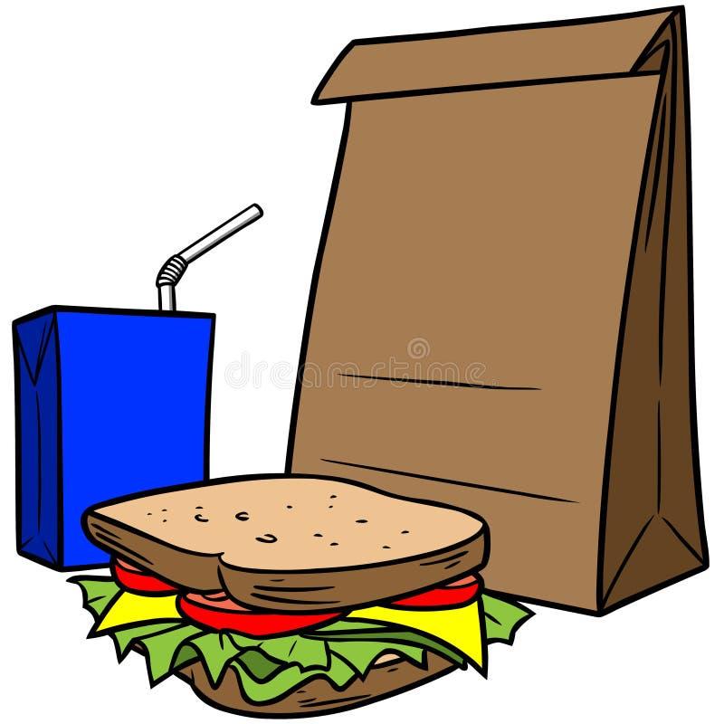 Pranzo della borsa di Brown illustrazione di stock
