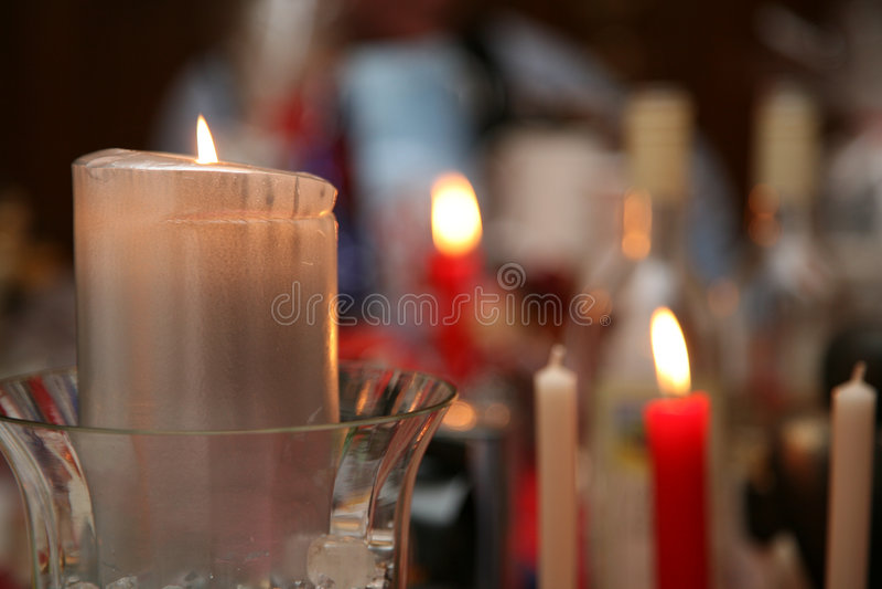 Pranzo della candela della sfuocatura fotografia stock libera da diritti