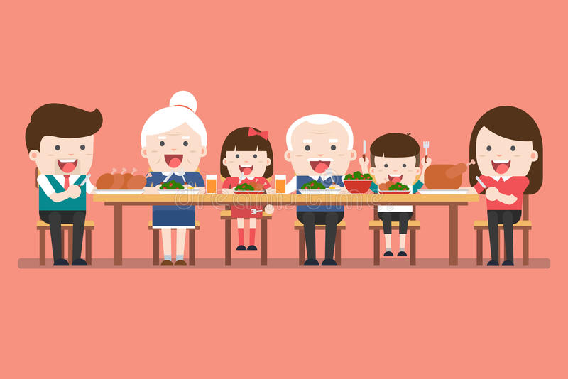 Pranzo della famiglia Cena di ringraziamento illustrazione vettoriale