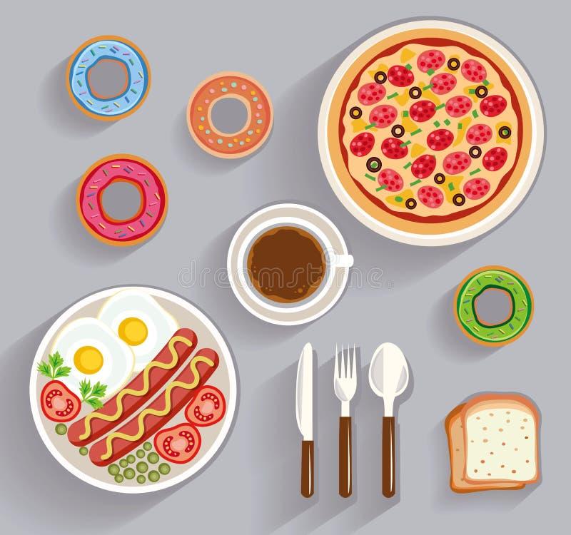 Pranzo di lavoro, vista da tavolo della cena illustrazione di stock