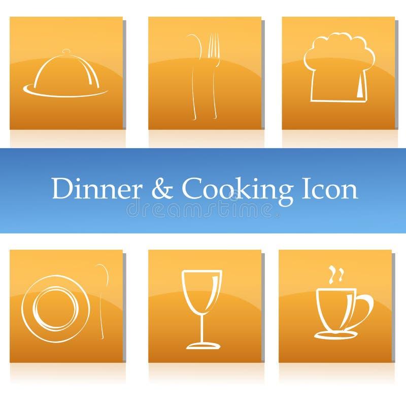 Pranzo ed icone di cottura illustrazione di stock