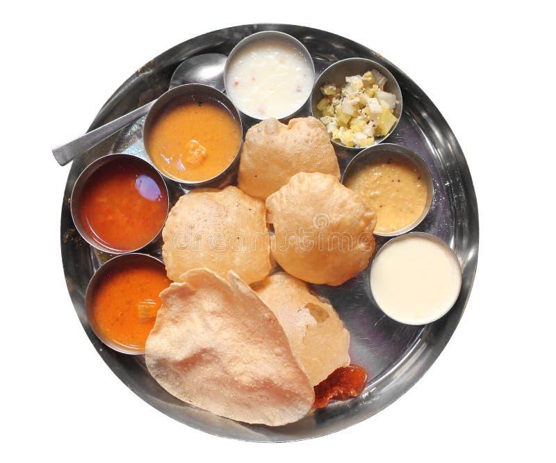 Pranzo indiano del sud con il puri ed il sambar fotografie stock libere da diritti