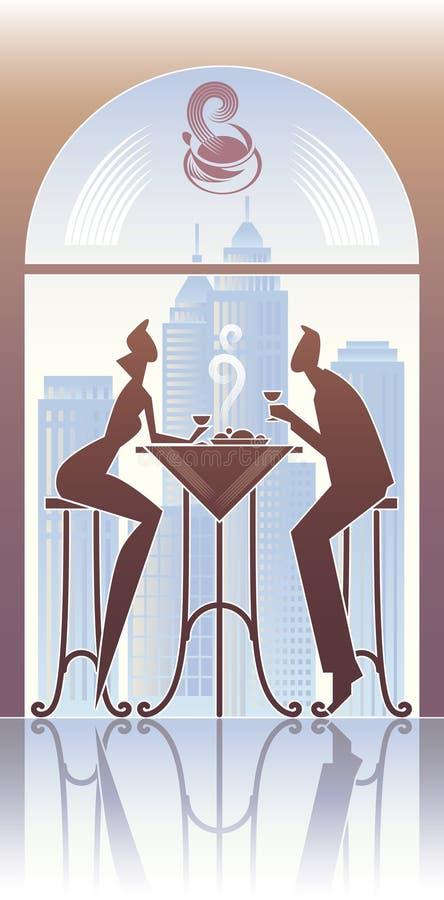 Pranzo nella città royalty illustrazione gratis