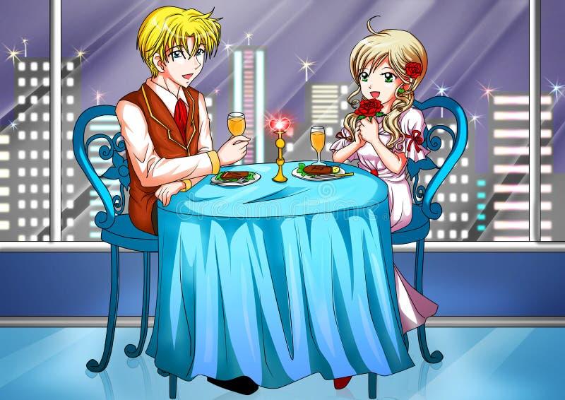 Pranzo romantico illustrazione di stock
