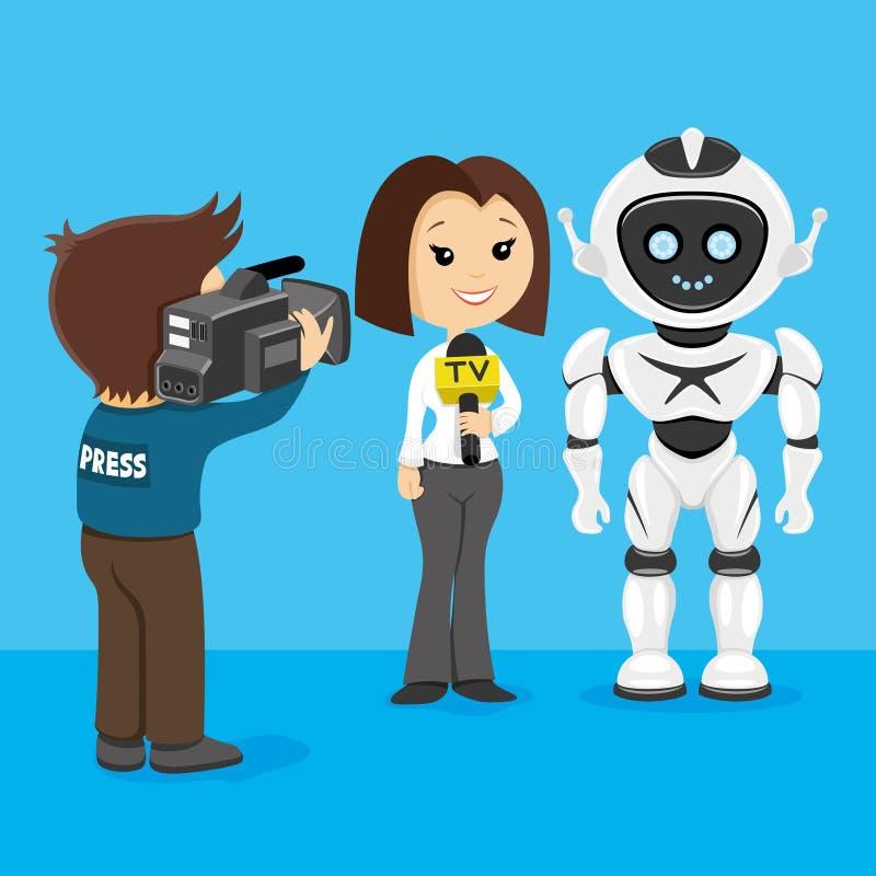 Prasa wywiada z robotem ilustracji