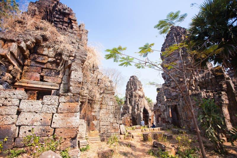Prasat Banan tempel i Battambang, Cambodja arkivbild