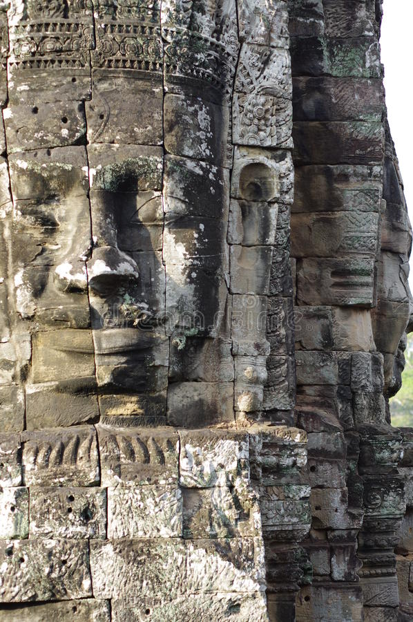 Prasat Bayon的巨型的石面孔 免版税库存照片