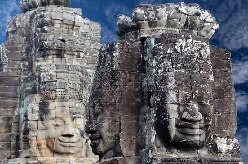 Prasat Bayon tempel i Angkor Thom, Cambodja fotografering för bildbyråer