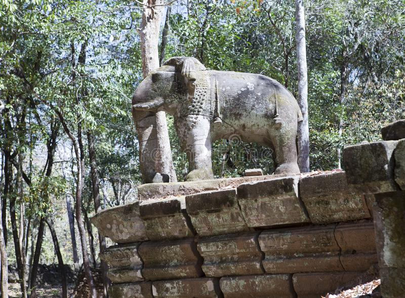 Prasat Damrei means Elephant temple ruin in the Koh Ker temple complex, Siem Reap, Cambodia royalty free stock images