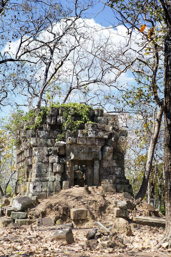 Prasat Leung ruin, Koh Ker temple complex, Cambodia royalty free stock photography