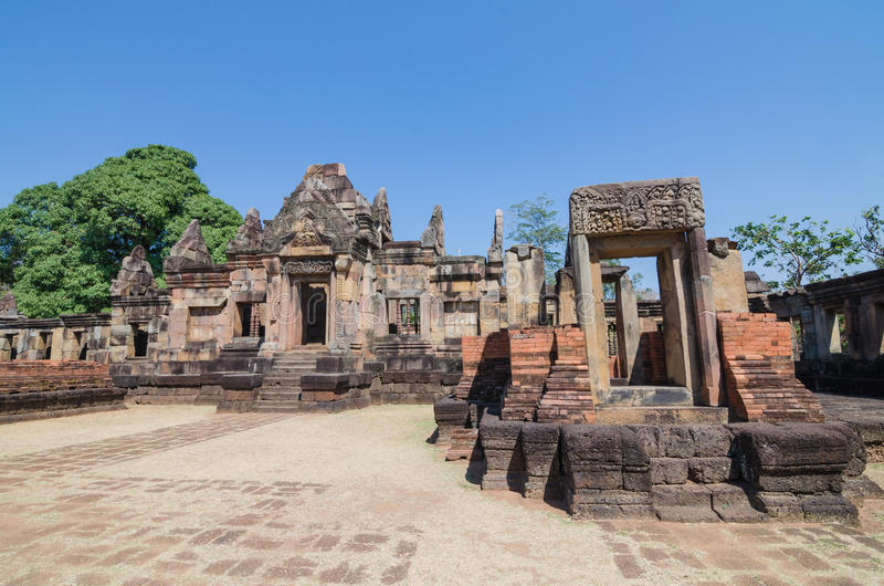 Prasat Mueang Tam historical park about a thousand years ago at Buriram province Thailand royalty free stock image