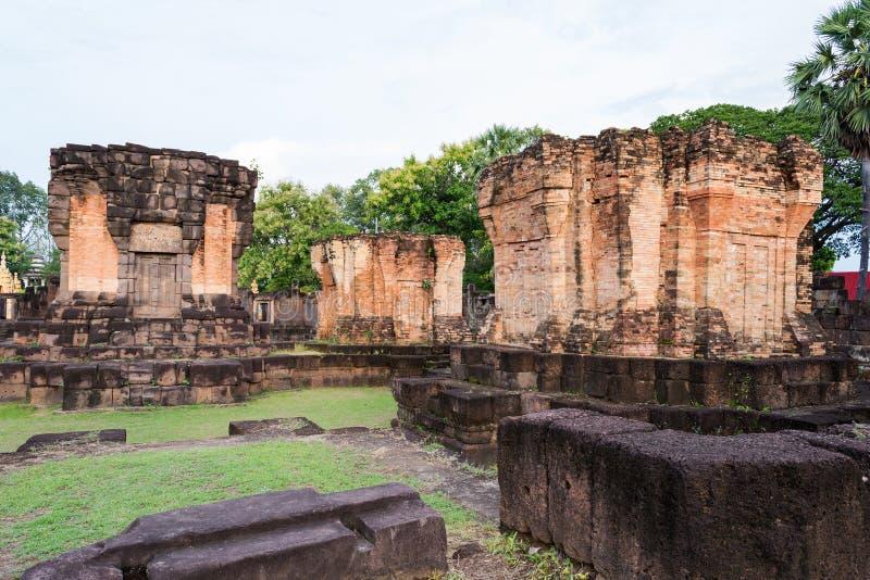 Prasat Wat Sa Kamphaeng Yai, Mahayana buddistisk tempel, Sisaket, arkivfoto