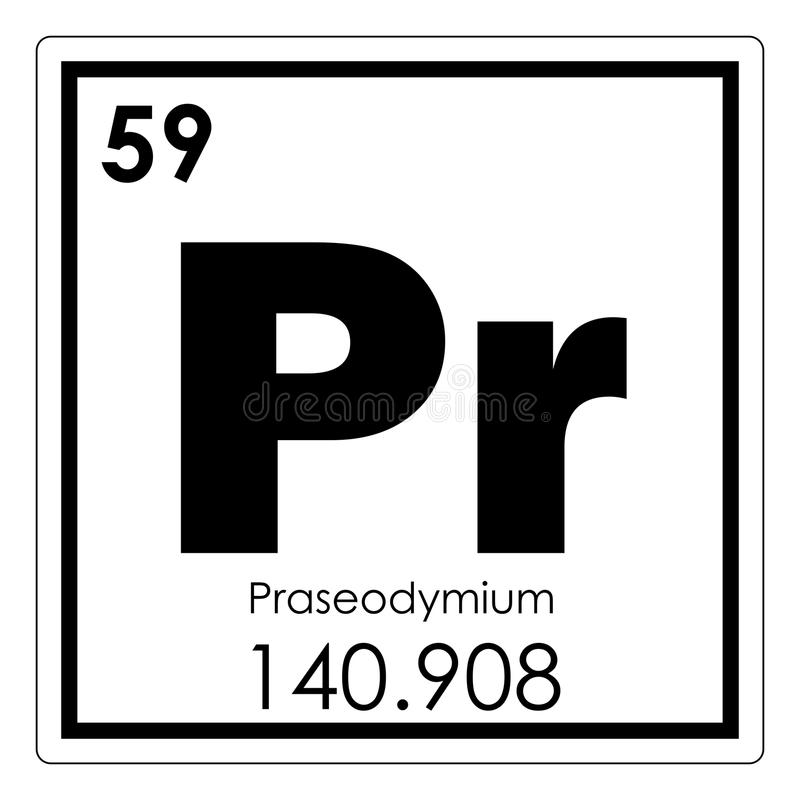 Praseodymium chemisch element royalty-vrije illustratie
