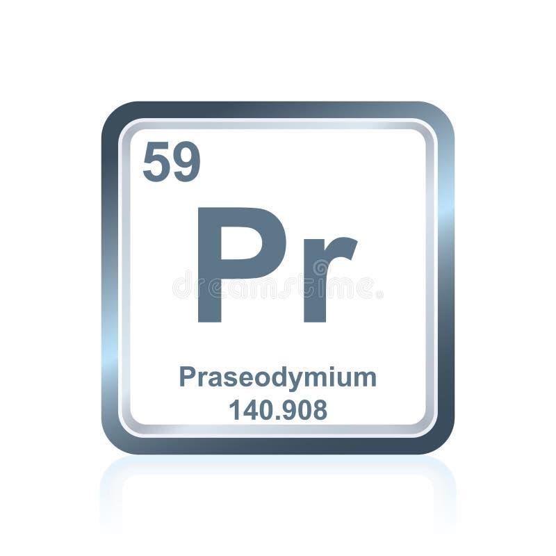 Praseodymium för kemisk beståndsdel från den periodiska tabellen stock illustrationer