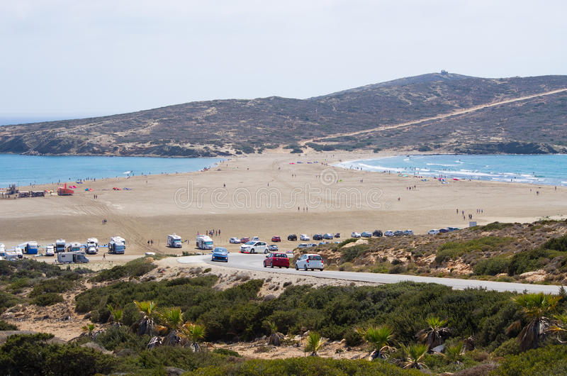 Prasonisi半岛在罗得岛海岛,希腊 免版税库存照片