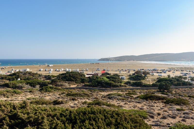 Prasonisi海湾全景在罗得岛镇,希腊南部的 免版税库存图片