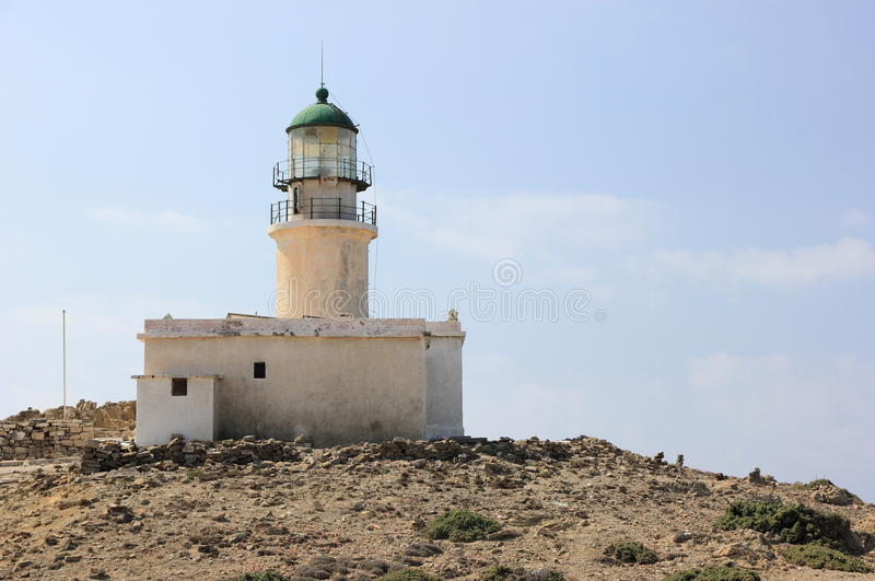 Prasonisi灯塔,罗得岛,希腊 库存图片