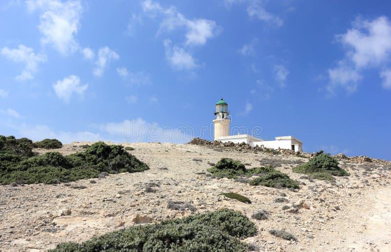 Prasonisi灯塔,罗得岛,希腊 库存照片