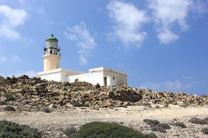 Prasonisi灯塔,罗得岛,希腊 免版税库存图片